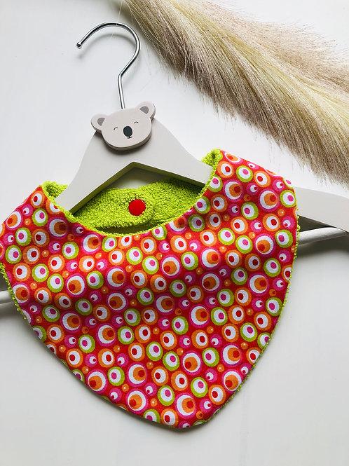 Bavoir/bandana en coton et éponge motifsronds multicolores