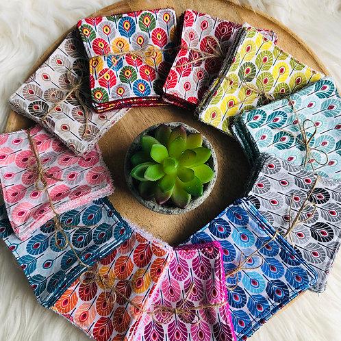 Lingettes en coton et éponge bambou motifs plumes de paon