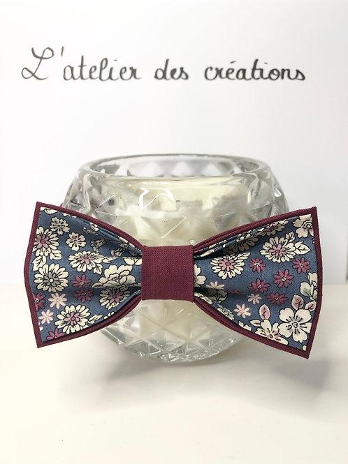 Nœud papillon en coton fleuri Froufrou tons bordeaux