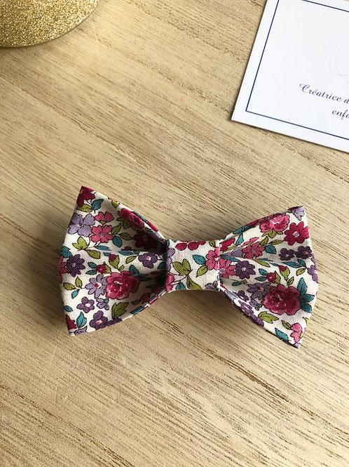 Barrette en coton motifs fleuris ton framboise