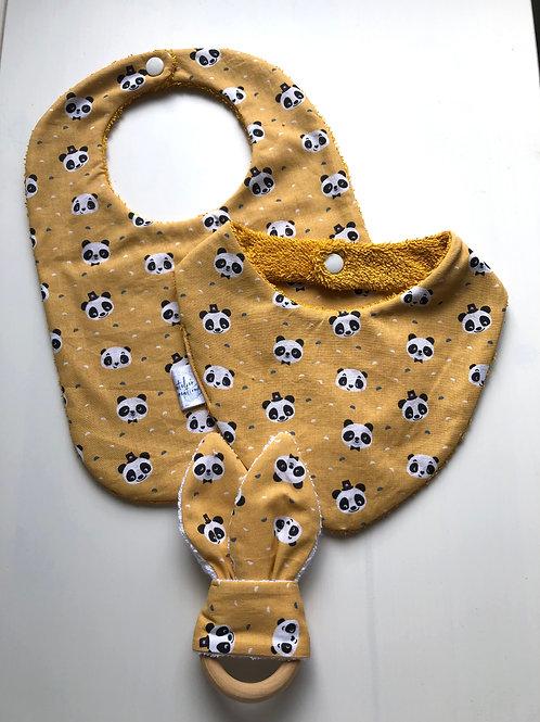 Coffret de naissance bavoir, bandana et anneau de dentition panda