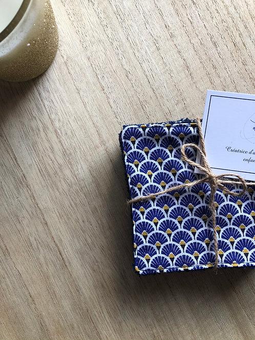 Lingettes en coton et éponge bambou motifs éventails bleu électrique