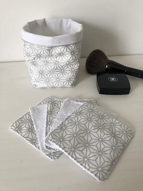 Panière et lingettes en coton et éponge bambou motifs géométriques argenté