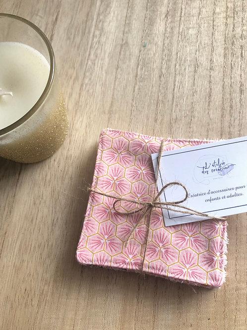 Lingettes en coton et éponge bambou motifs riad rose pâle