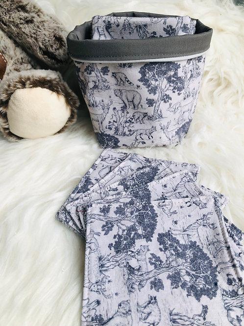 Panière et lingettes en coton et éponge bambou motifs animaux de la forêt
