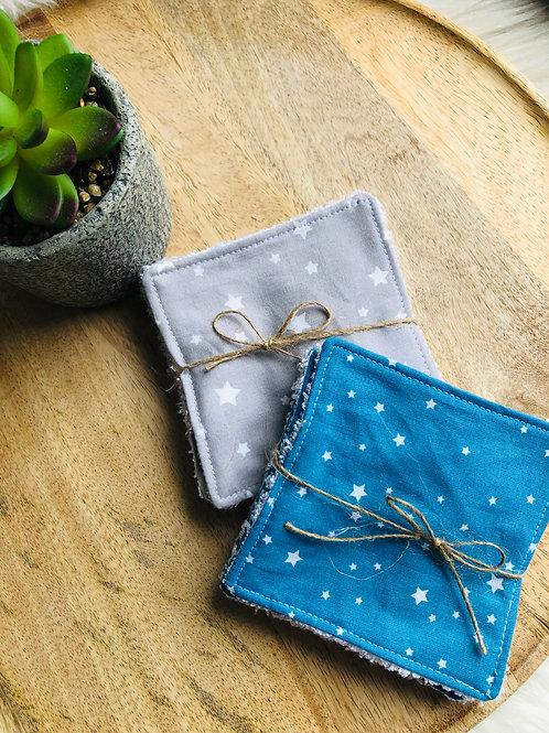 Lingettes en coton et éponge bambou motifs étoiles