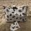Thumbnail: Pochette enveloppe en coton aspect lin fleurs grises