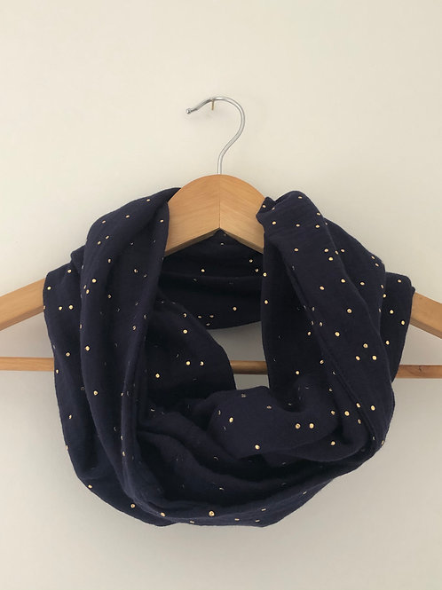 Tour de cou / snood en double gaze de coton bleu marine