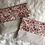 Thumbnail: Trousse pochette en toile de coton aspect lin fleuris ton rouge