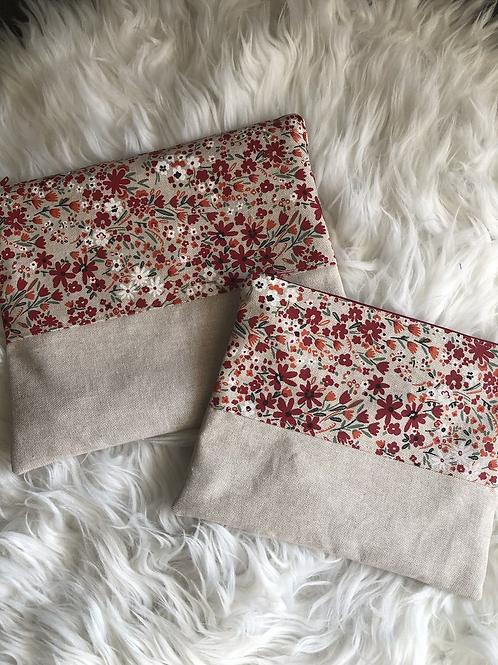 Trousse pochette en toile de coton aspect lin fleuris ton rouge