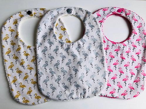 Bavoir en coton et éponge motifs flamants rose