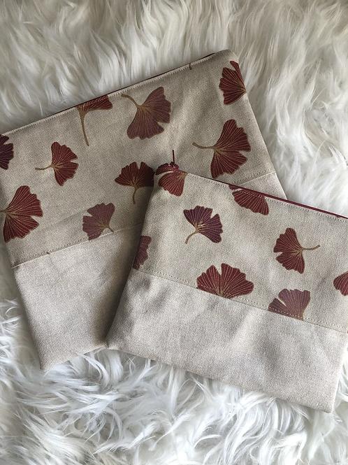Trousse pochette en toile de coton aspect lin motifs fleurs rouge