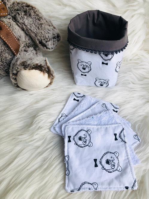 Panière et lingettes en coton et éponge bambou motifs ours noirs