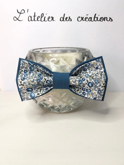 Nœud papillon en coton fleuri Liberty tons de bleus