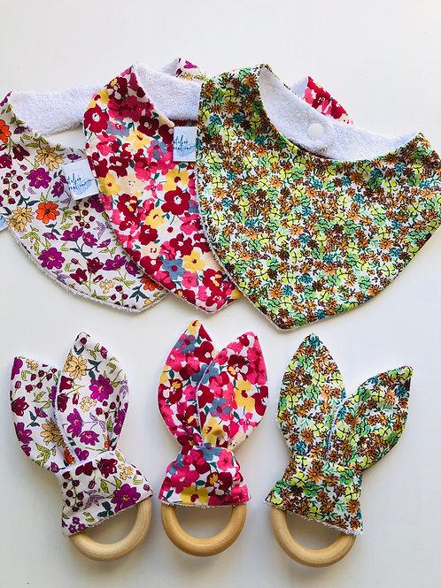 Coffret bandana et anneau de dentition popeline motifs fleuris