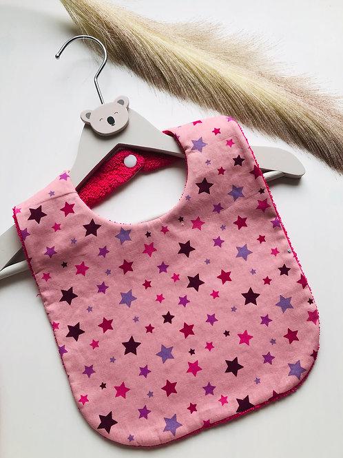 Bavoir en coton et éponge motifs étoiles fushia fond rose