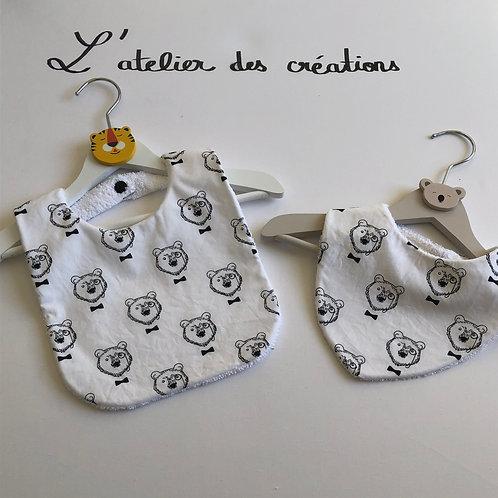 Duo bavoir / bandana en coton et éponge motifs têtes d'ours
