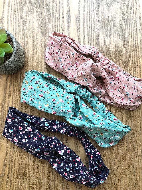Headband / bandeau en viscose fleuri