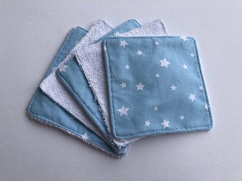 Lingettes en coton et éponge bambou étoiles blanches