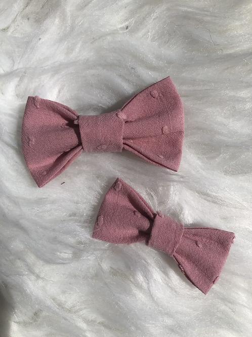 Barrette en coton plumetis vieux rose