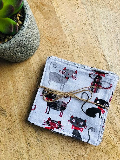 Lingettes en coton et éponge bambou motifs chats