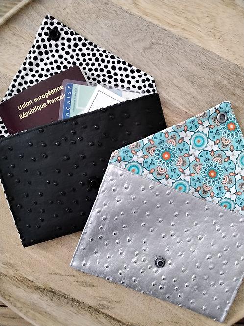 Pochette enveloppe simili cuir autruche