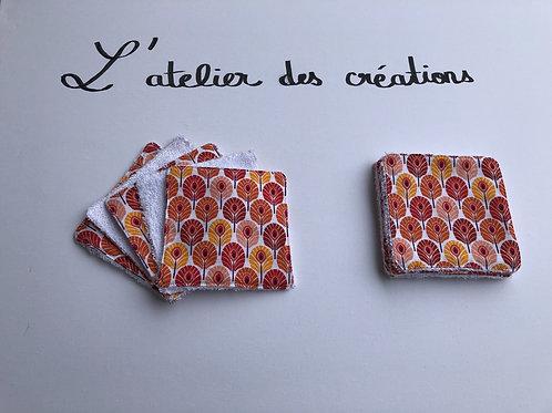 Lingettes en coton plumes de paon orange et éponge bambou blanche