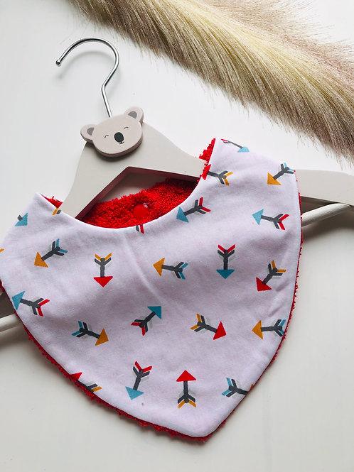 Bavoir/bandana en coton et éponge motifs flèches