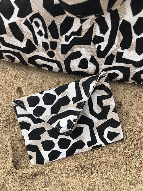 Pochette enveloppe en coton aspect lin motifs abstraits