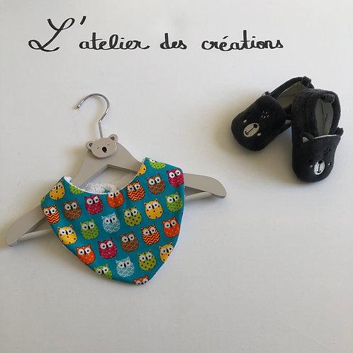 Bavoir/bandana en coton et éponge motifs chouettes multicolores