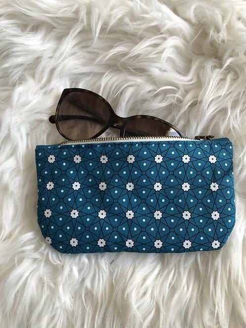 Trousse / étui à lunettes en coton motifs céramique bleu canard
