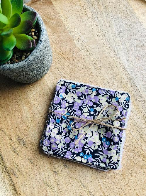Lingettes en coton et éponge bambou motifs fleurs