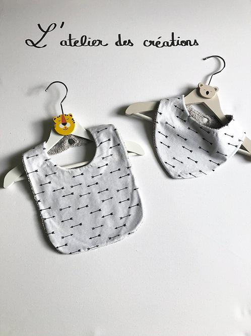 Duo bavoir / bandana en coton et éponge motifs flèches