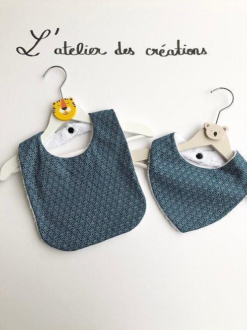Duo bavoir / bandana en coton et éponge motifs bleus