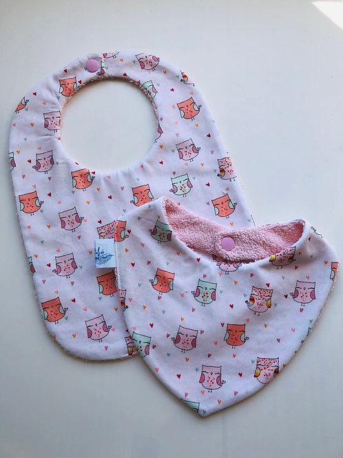 Duo bavoir / bandana en coton et éponge motifs chouettes