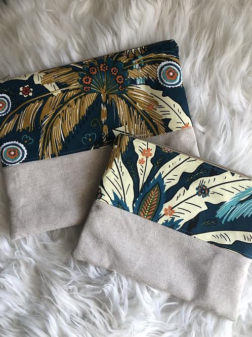 Trousse pochette en toile de coton aspect lin multicolores