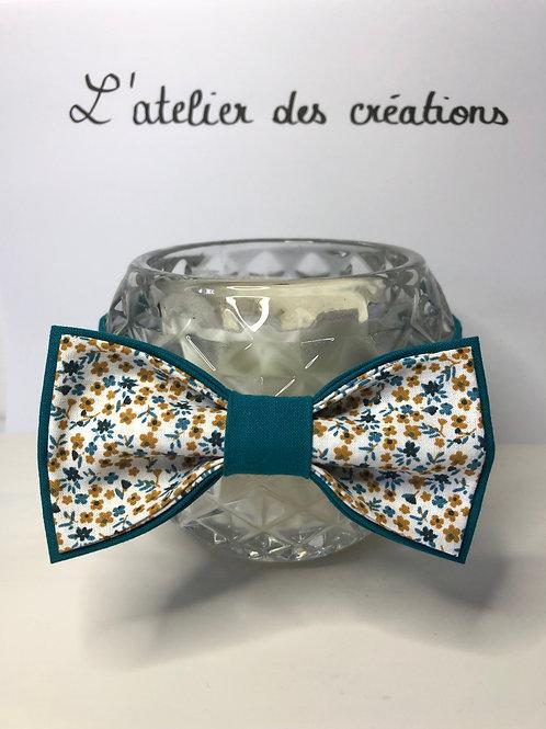 Nœud papillon en coton fleuri tons bleu canard et moutard