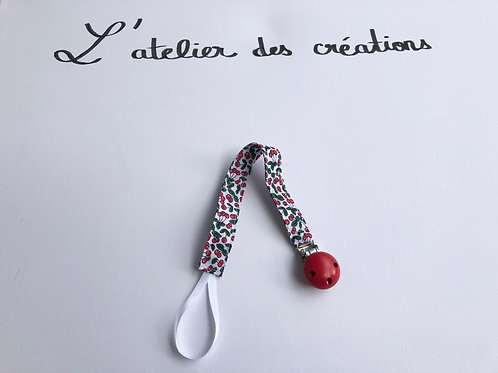 Attache tétine en coton à motifs cerises rouge