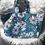 Thumbnail: Cabas en toile de coton motifs fleurs doré, bleu canard et noir
