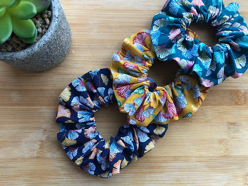 Chouchou en coton motifs feuilles de ginhko