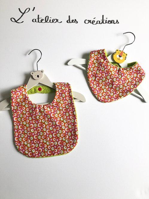 Duo bavoir / bandana en coton et éponge motifs ronds multicolores