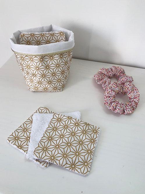 Panière et ses 10 lingettes en coton et éponge bambou / plusieurs coloris