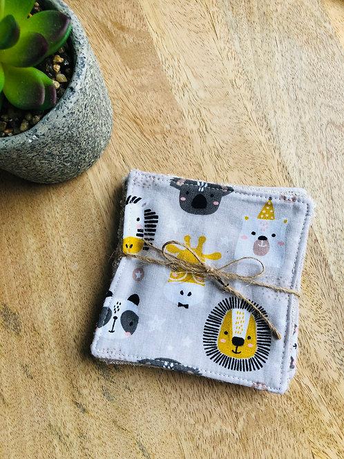 Lingettes en coton et éponge bambou motifs animaux de la jungle