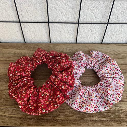 Chouchou en coton motifs petites fleurs