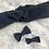 Thumbnail: Headband / bandeau en coton plumetis bleu marine