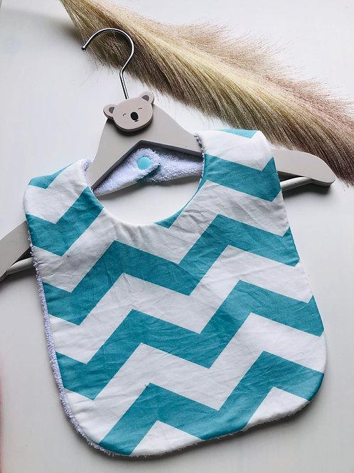 Bavoir en coton et éponge motifs zig zag turquoise et blanc