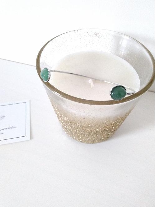Bracelet jonc double cabochon en  aventurine vert  en métal argenté