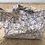 Thumbnail: Cabas en toile de coton aspect lin motifs têtes bleues abstraites