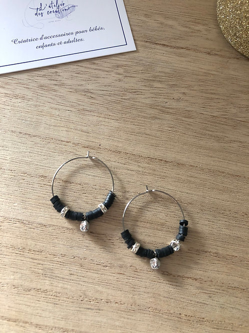 Créoles en métal argenté perles heishi noir et strass