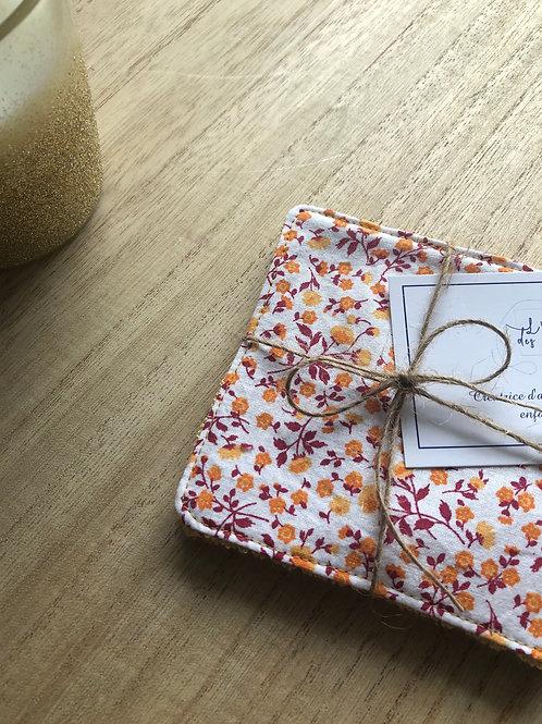 Lingettes en coton et éponge bambou motifs fleuris jaune bordeaux